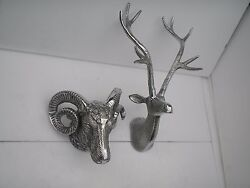 Metal Wall Mounted Stag Head With Ram Head Deer Set Of 2 Home Decor Edh