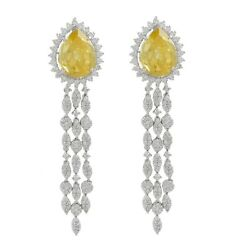 22 Ct. Synthetic Yellow Sapphire Natural Diamond Dangle Earrings 14k White Gold