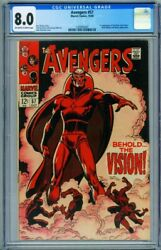 Avengers 57 Cgc 8.0 - First Appearance Of The Vision Marvel 1293942001