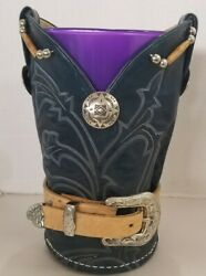 Vase Cover Made W Cowboy Boot Rehab And Belt, Hand Made Usa