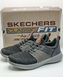 Skechers Men#x27;s Delson 3.0 Knitted Bungee Lace Slip On Black Grey New Size 12 $29.00