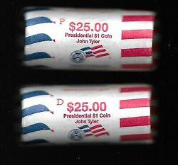 Lot Of 2 Rolls 2009 P And D John Tyler Presidential Dollars Us Mint Wrapped Roll