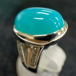 [bargain]k18wg Blue Chalcedony Diamond Ring With Safe Sorting Used M-c172