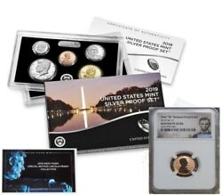 2019 Silver Proof Set And First W Mint Reverse Proof Cent - Ngc Pf69rd