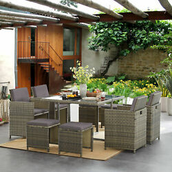 Outdoor Space Saving Patio Wicker Furniture Set W/ Dining Table Chairsand Ottomans