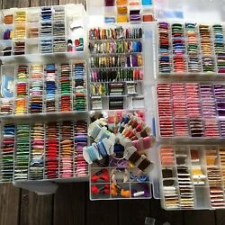 Embroidery Cross Stitch Floss Lot Of 775+ Ten Organizer Boxes And Floss Bobbins