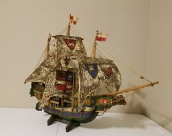 Vintage Large Wooden Handcrafted Shipmodel Pirate Sailing Boatreplica