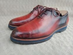 Burluti Alessio Whole-cut Brown Leather Men's Oxford Shoes Size 9 Made In Italy