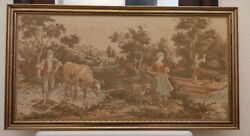 Antique Tapestry Countryside Scene Farmers Child On Boat Cow Goat Wooden Frame