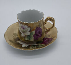 Vintage Lefton China Hand Painted Heritage Rose Tea Cup And Saucer Set 1883