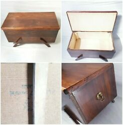 Antique Victorian Wooden Storage Box With Metal Brass Hinges Classic