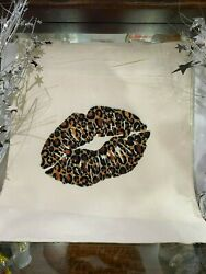 canvas tote bags for women leopard lips $12.00