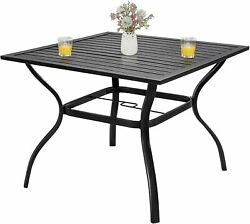Patio Dining Table Square Outdoor Garden Furniture Table W/ 1.57 Umbrella Hole