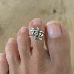14k White Gold Over 925 Sterling Silver Leaves Toe Ring, Leaf Ring, Silver Rings