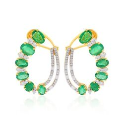 Solid 18k Yellow Gold Emerald Stud Earrings Si Clarity Hi Color Diamond Jewelry