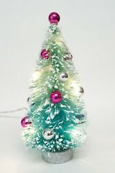 Bottle Brush Decorated Lighted Christmas Tree Battery Operated Tested And Working