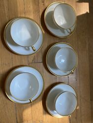 Charles Ahrenfeldt Limoges France Set 5 Flat Cups And Saucers And 6 Salad Plates