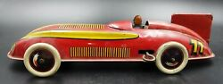 Antique Wind Up Racer Car No 77 Red Litho Tin Toy Made In England By Wells Rare