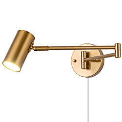 Swing Arm Plug in Wall Sconce Brass 4500K Neutral White Swivel Arm LED Wall for