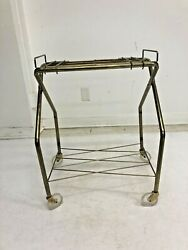 Vintage Rolling Cart Record Player Stand Tv Gold Side Table Mid Century Modern
