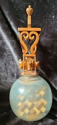 Antique Whimsy In Lightning Rod Globe With Folk Art Carvings Illegibly Signed