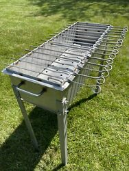 Large Heavy-duty Stainless Steel Bbq Grill / Mangal 11 Ga 3mm + 15 Skewers