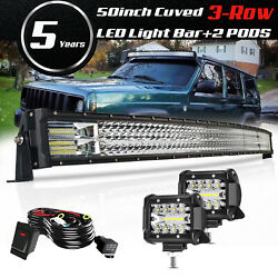 For 1984-2001 Jeep Cherokee Xj 50 Tri-row Led Curved Light Bar+ 4 Pods+ Wiring