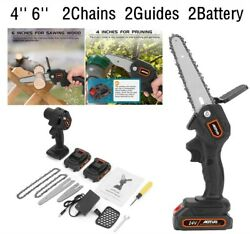 4inch Mini Chainsaw Cordless Electric Portable Saw Wood Cutter Pruning Hand Held