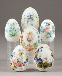 A Collection Of Six Milk Glass Easter Antique Eggs Late 19th Century