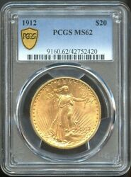 1912 20 Saint Gauens Gold Double Eagle Ms 62 Pcgs Nice Coin For Grade