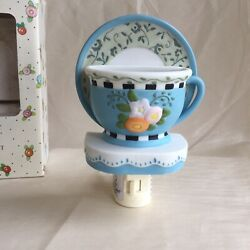 Mary Engelbreit Blue Flowered Teacup And Saucer Night Light 2001 Me Ink New In Box