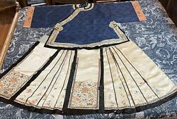 Antique Chinese Qing Dynasty Silk Hand Embroidery Robe+skirt Blue, Cream