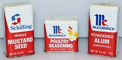 • Vintage 1977/1980 Mccormick And Schilling Seasoning/spice Tins •