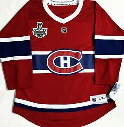 Youth-l/xl Montreal Canadiens Nhl Premier 2021 Stanley Cup French Patch Jersey