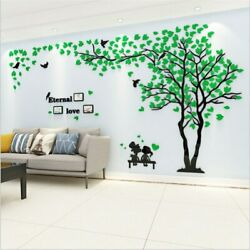 DIY Large Sweet Couple Photo Frame Wall Mirror Tree Wall Sticker for Living Room