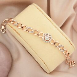 Solid 18k Rose Gold 0.85 Ct. Si Clarity Hi Color Diamond Charm Bracelet Jewelry