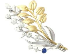 Antique 0.22ct Sapphire 1.82ct Diamond 18ct Yellow And White Gold Spray Brooch