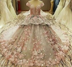 Ball Party Dress Gown Pink Gray Flowers Print Beading Zipper Back O Neck Organza