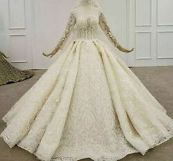 Ball Gown Wedding Bride Dress Square Collar Applique Sequin Backless Long Sleeve