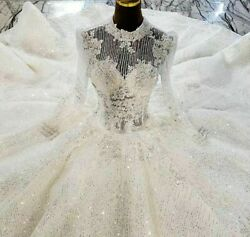 Ball Gowns Wedding Dress Luxury High Neck Crystals Beading Sequined Long Sleeves