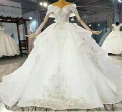 Wedding Dress Cathedral Train Sweetheart Neck Backless Shiny Sequin Applique New