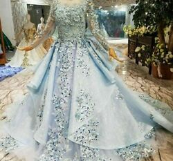 Blue Party Muslim Dress High Neck Long Tulle Sleeve Lace Up Back Flowers Organza