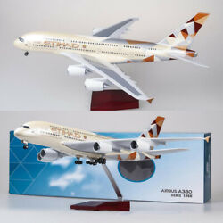 18 1/160 Airbus A380 Etihad Led Airplane Model Resin W/ Light And Wheel Diecast