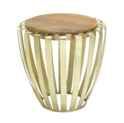 Tall Drum Accent Table Round Wood Brass Cage Decor 28603