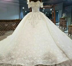 Gowns Bridal Wedding Dress Sweetheart Short Sleeve Lace Up Sequin Crystal Pearls