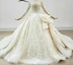 Ball Gowns Wedding Dress Champagne Deep V Neck Appliques Crystals Sequined Laced