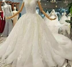Sexy Gowns Wedding Dress White High Neck Cap Sleeves Crystal Pleat Appliques New