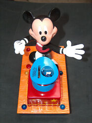 Rare Disney Mickey Mouse Talks Rabbit Pop Out Of Hat Steels Coin Bank Mechanical
