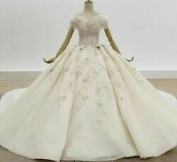 Ball Gown Wedding Dress Sweetheart Off The Shoulder Crystal Sequined Organza New