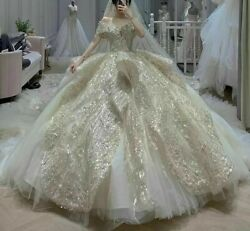 Champagne Wedding Dress With Veil Crystal Sequined Beads Sweetheart Off Shoulder